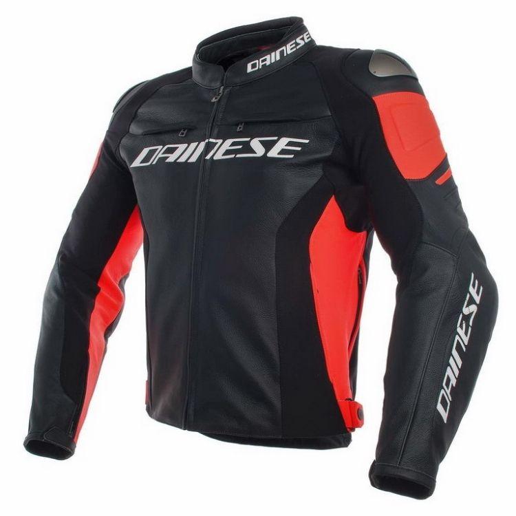 Dainese pánská kožená bunda na motorku RACING 3 černá červená-fluo ... 3e9919c8ed