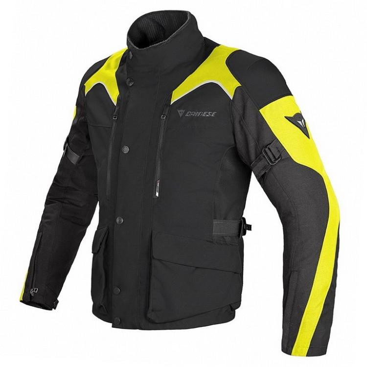 44121099132 Pánská enduro moto bunda Dainese TEMPEST D-DRY černá černá fluo žlutá