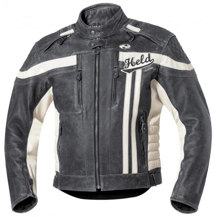 Pánská kožená moto bunda Held HARVEY 76 vel.62 černá bílá  e691c131ef