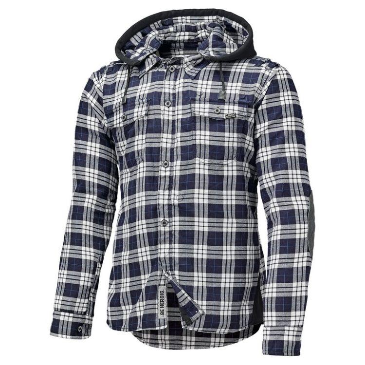 dff775f2a0c Pánská flanelová moto košile s chrániči Held LUMBERJACK černá bílá modrá